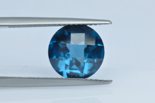 BLZ130MCT - Blue Zircon Synthetic 10.00 Round  Checkerboard Cut