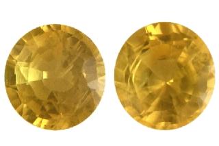SAPY119M_PAIR - Sapphire Yellow  5.50 Round Pair, 1.89 carats